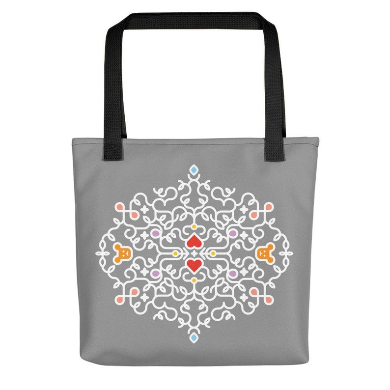 Bear Heart Swirl Graphic Tote Bag / Elegant Wedding Gift Bag  image 0