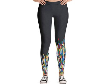 Building Block Workout Leggings / Work from Home Women tights / Fitness Jogging Gym pants / Breathable Fashion Pants
