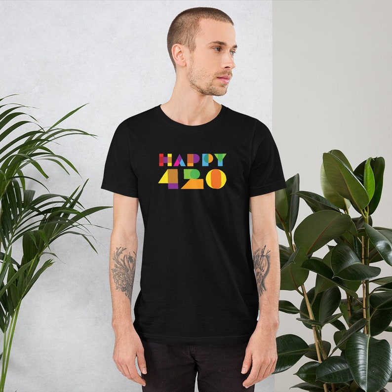Happy 420 Subtle Psychedelic Color Weed Unisex T-Shirt for image 0