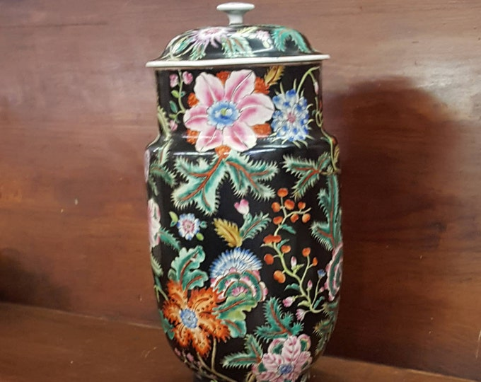 On Sale - Famille Noir Chinese Export Tall Urn Lidded Jar Scrolls Flowers Vines Black Blue Green Pink White