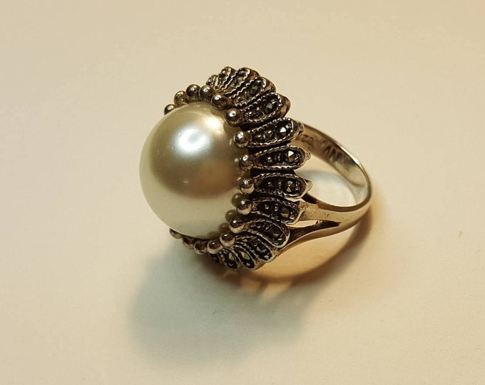 On Sale - Vintage Mabe Pearl Sterling Marcasite Cocktail Ring Crown Blossom