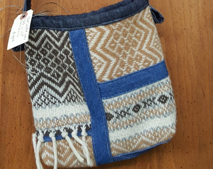 Handmade Small Crossbody/Shoulder Bag - Denim and Upcycled Wool Faribault Blanket Brown Beige Blue