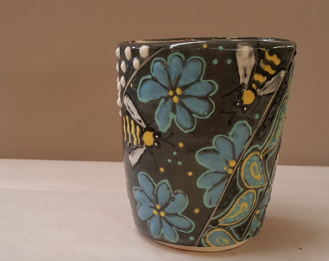 Vintage Studio Pottery Tea Mug Tumbler Artist Signed Wheel Turned Functional Beautiful Honey Bees Flowers Teal Yellow Black