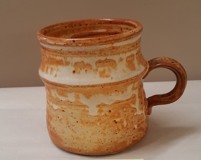 Stephen Jepson 1970s Studio Pottery Tea Mug Handmade Wheel Turned Functional Beautiful Drip Glaze