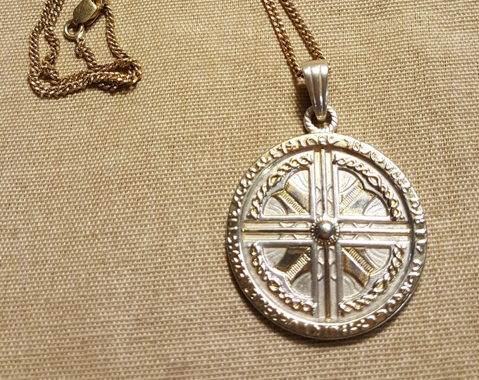 Vintage Sterling Silver Pendant Round Amulet with Cross Circular Museum Copy?