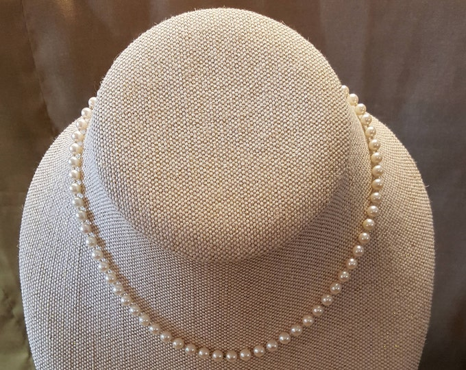 "On Sale - Pearls 14 Karat White Gold Knotted Princess Length Single Strand Necklace 18"" Vintage"