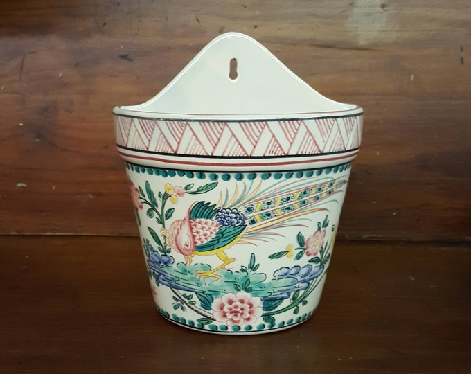 Quteiro Agueda Portugal Hand Painted Wall Vase Pocket Exotic Bird Long Tail - Farm House Style Air Plant Container