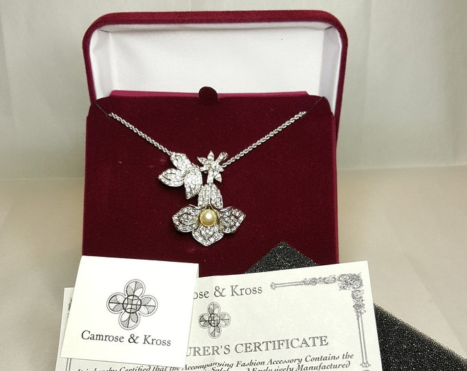 Jackie Kennedy Camrose and Kross JBK Silvertone or White Gold Simulated DIamonds Pearl Orchid Blossom Pendant Necklace