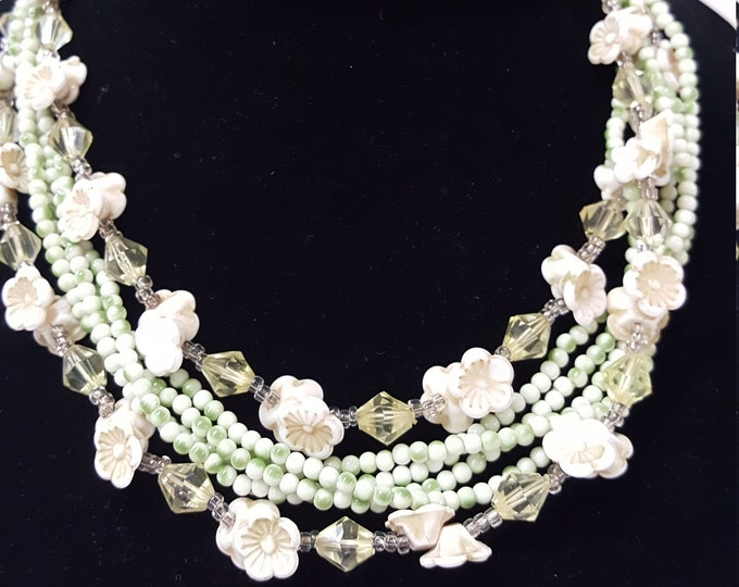 Unique Triple-Strand Vintage 1940s Japan Glass Flowers Spring Colors Green White Yellow Dainty Feminine Girl Doll