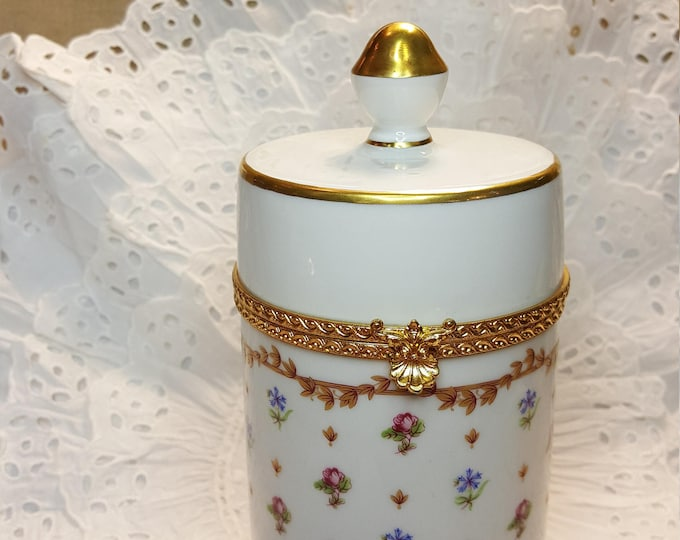 Haviland France Vieux Sevres Tall Hinged Porcelain Jar for Q-tips Dresser Tray