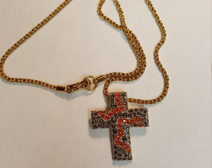 Swarovski Brand Cross Pendant Necklace Round Pavé Stones Colorful Orange Citrine Smokey Topaz Goldtone