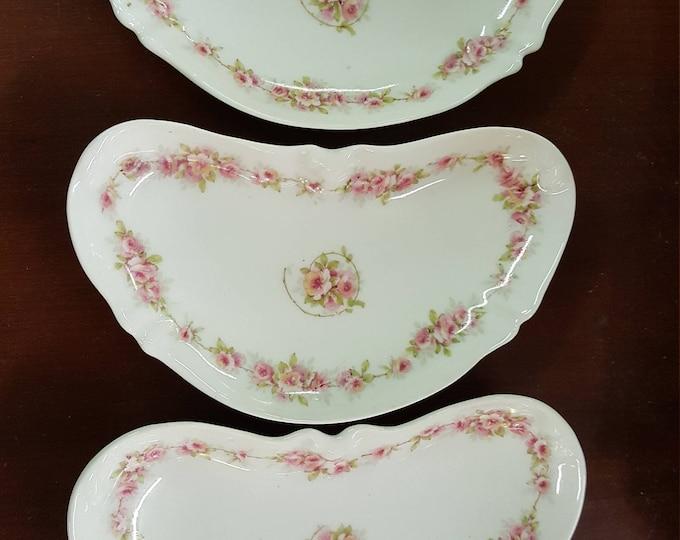 Haviland Limoges France, Theodore Set of 3 Bone Dishes Dainty Pink Roses