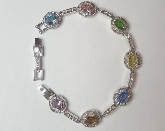 Jackie Kennedy MultiColor Silvertone Bracelet  Camrose and Kross JBK Rhodium Plated Simulated Stones Box and Certificates