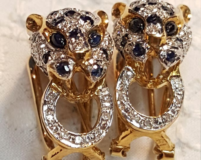 Estate 14Kt Gold Sapphires and Diamonds Leopard Pair of Earrings Blue and Clear Pierced Omega Backs