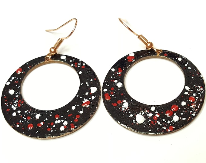 Vintage Upcycled Enamel on Copper Dangles Earrings Modern Abstract Splatter