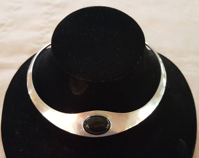 On Sale - Vintage Sterling Silver Omega Mid Century Modern Necklace with Black Onyx Cabochon