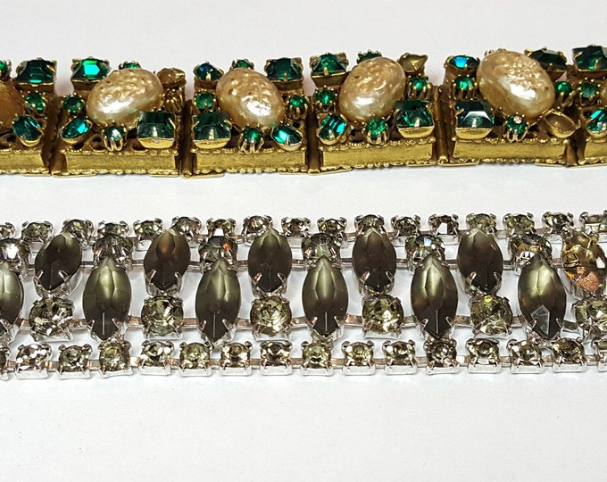 Vintage Lot of Fabulous Killer Bracelets Rhinestones Baroque Pearl Cabochons etc. Replacement Parts Broken Repair Crafting Jewelry Making
