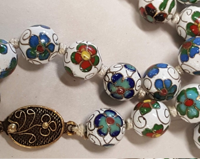 Jewelry Making Supplies Vintage Cloisonne Beads Clasp - 80 Round Beads 10mm