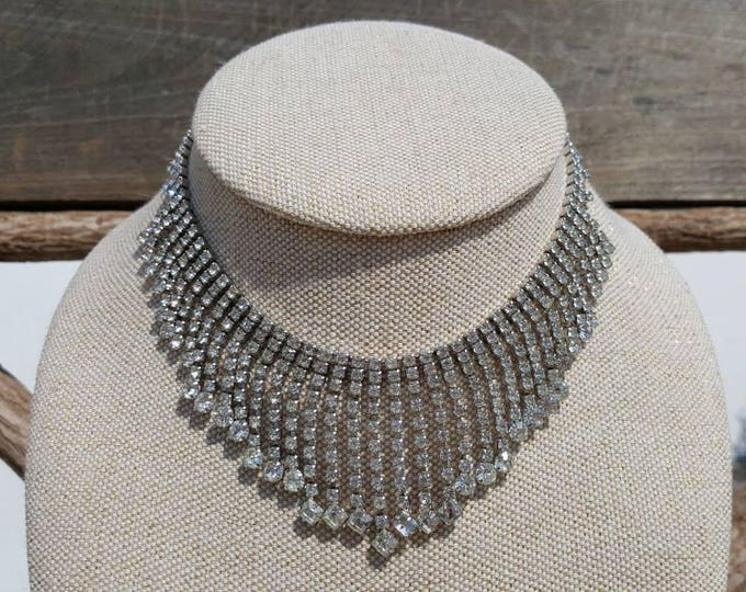 On Sale - Wedding Formal Kramer of New York Vintage Clear Rhinestones Sparkle Necklace