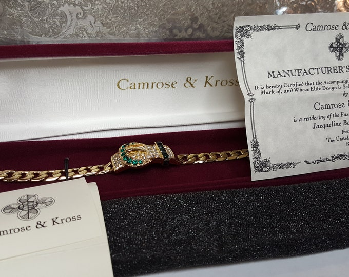Jackie Kennedy Bracelet  Buckle Faux Emeralds Diamonds Chain Link Camrose and Kross JBK Gold Plated Box and Certificates