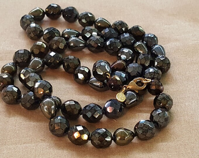"Joan Rivers Versatile Faceted Iridescent Black Beaded Necklace 31"" long Tear Drop Vintage"