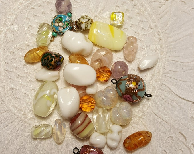 Vintage Lot of Glass Beads Venetian Opalescent Milk Givre Jewelry Making Supplies