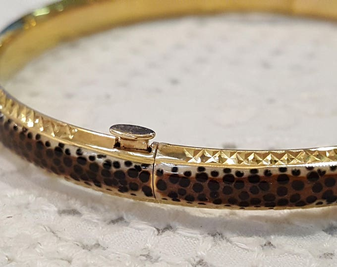 14K Gold Enamel SLC Spotted Leopard Bangle Hinged no Cat just spotted pattern