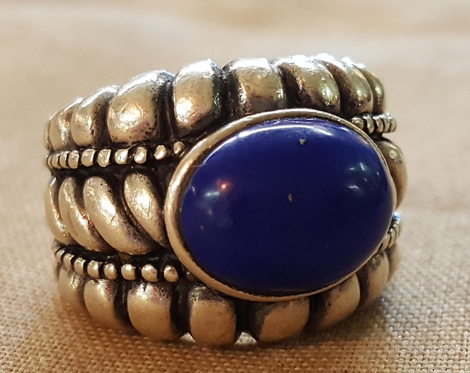 On Sale - Vintage Sterling Silver and Lapis Cabochon Ring different sizes available