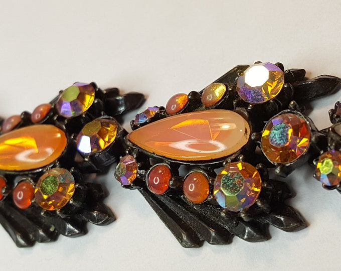 Florenza Japanned Black and Peach Orange Opalescent Faux Fire-Opals Stunning Vintage Rhinestone Bracelet