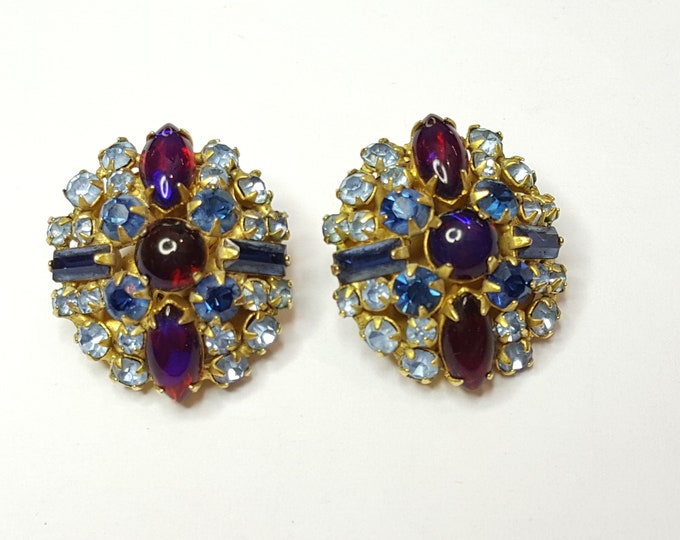 Vintage Fabulous Clip-On Rhinestones Earrings Multicolor Multishape