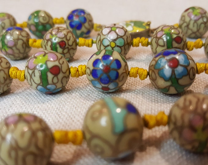 Jewelry Making Supplies Vintage Cloisonne Beads Clasp - 36 Round Beads 12mm
