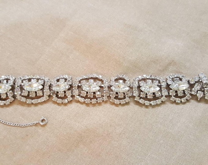 Kramer of New York Vintage Clear Rhinestones Bracelet Sparkle Runway Wedding Formal