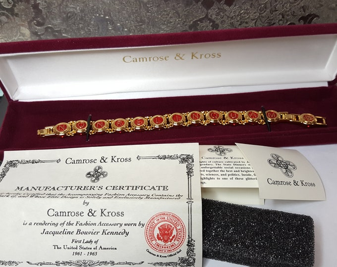 Castellani Wedding Jackie Kennedy Bracelet Camrose and Kross JBK Gold Plated Box and Certificates Nonrelinques