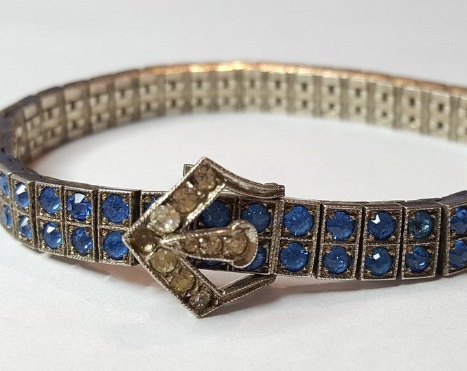 Art Deco Vintage Rhinestone Bracelet Diamonbar Solid Sterling Silver Modernist