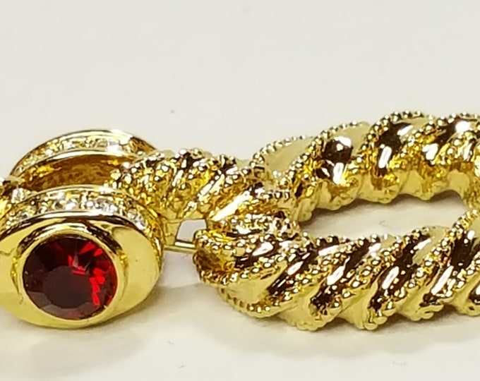 Jackie Kennedy Bracelet Faux Rubies Chain Link Camrose and Kross JBK Gold Plated NIB Box