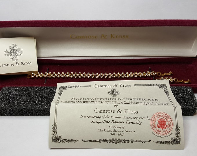 Jackie Kennedy DIamonds Bracelet Tennis Camrose and Kross JBK Gold Plated Simulated Stones Box and Certificates