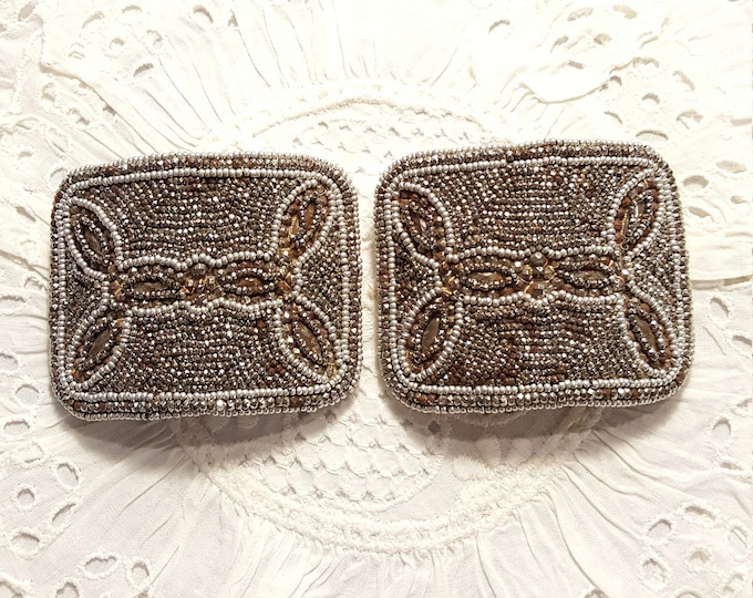 French Steel Cut Beads Pair Shoe Buckles Haute Fashion Style Vintage
