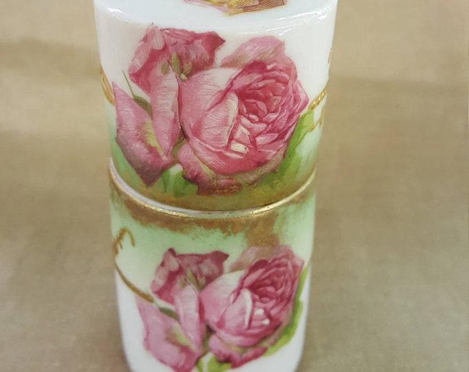 On Sale - Rare Cylindrical Dresser Perfume Jar Limoges France AK CD Antique Vintage 1900