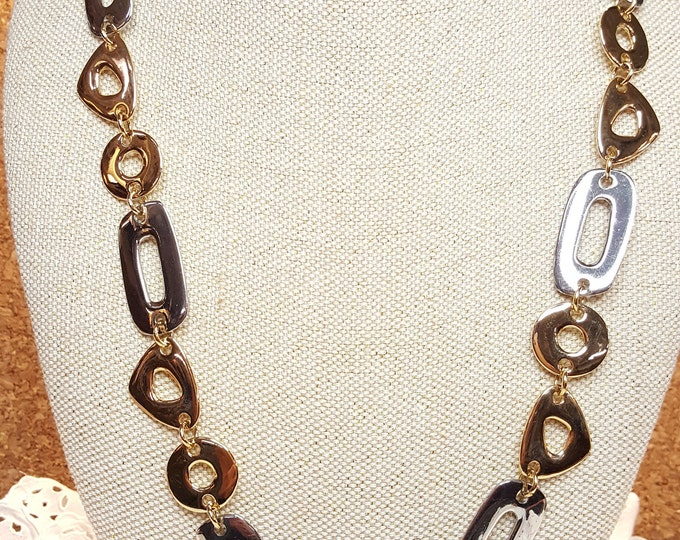 "On Sale - KJL Vintage Large Fancy Links Chain 26"" to 29"" Necklace Silver Gold Triangles Rectangles Circles Holiday"
