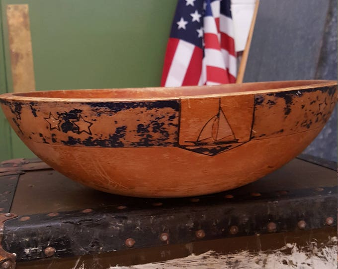 Vintage Large Round Wooden Bowl Nautical Ship Stars Coastal Beach Fruit Salad