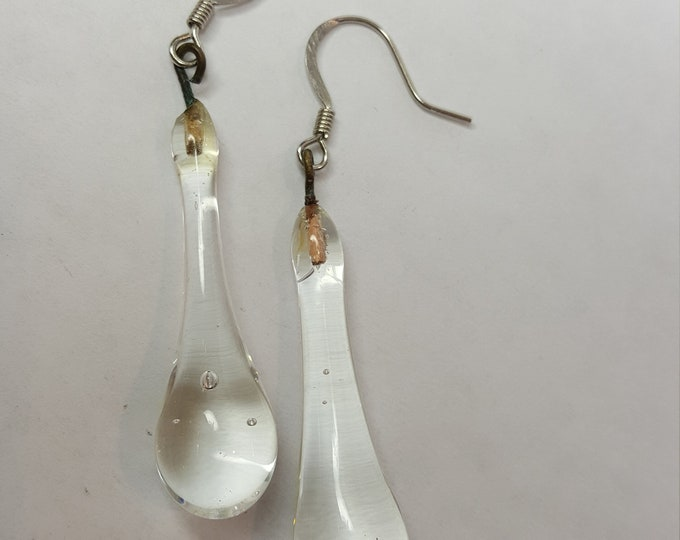 Vintage Clear Glass Drop Teardrop Earrings Long Dangle