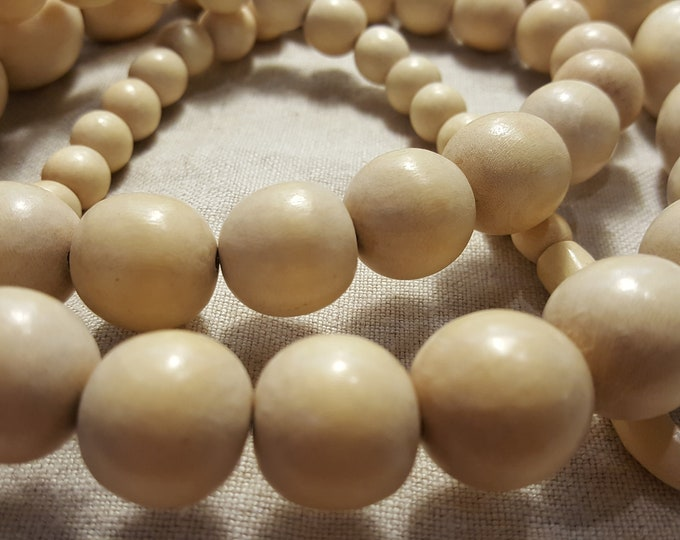 Jewelry Making Supplies Large Round Wood Beads Ivory Cream Beige 59