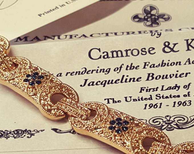 Camrose and Kross Bracelet Simulated Sapphires and Gold Jacqueline Kennedy JBK Swarovski Crystals Original Box Certificates