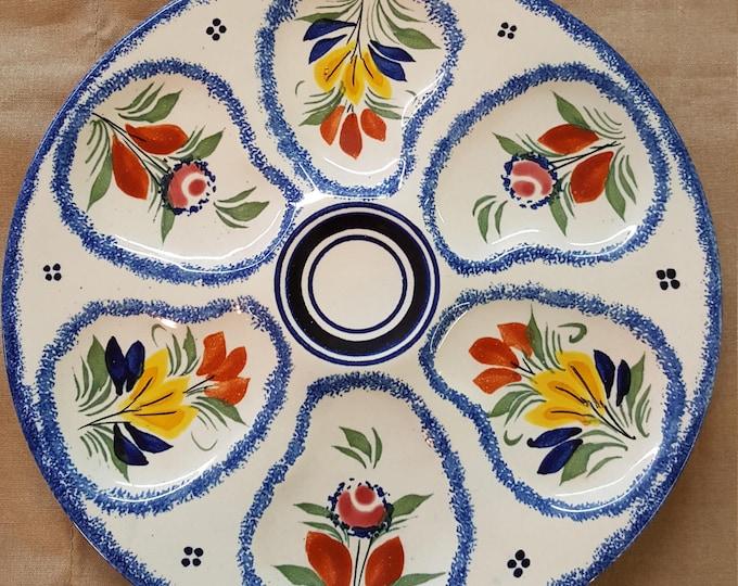 On Sale - French Henriot Quimper Oyster Plate Vintage 1960-90 Blue Sponge Edge Floral No Peasant