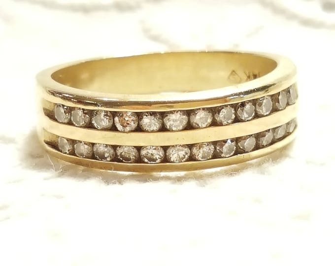 14K Solid Yellow Gold Eternity Band 2 Rows of Channel Set Diamonds 4.4 grams US Size 6.5