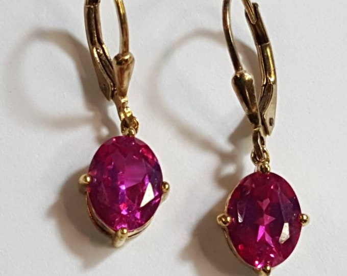 Vintage Small Earrings Gold Plated on Solid Sterling Silver Pierced Dangles pink CZ Lever Back