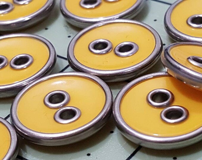 Vintage Replacement Yellow and Silvertone Metal Buttons Lot of 13 Maggy Boutique Sewing Knitting Croche'
