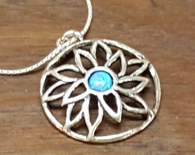 "On Sale - Shablool didae Sterling Silver Opal Pendant Necklace 18"" Artisan 1"" Openwork Round Pendant NIB"