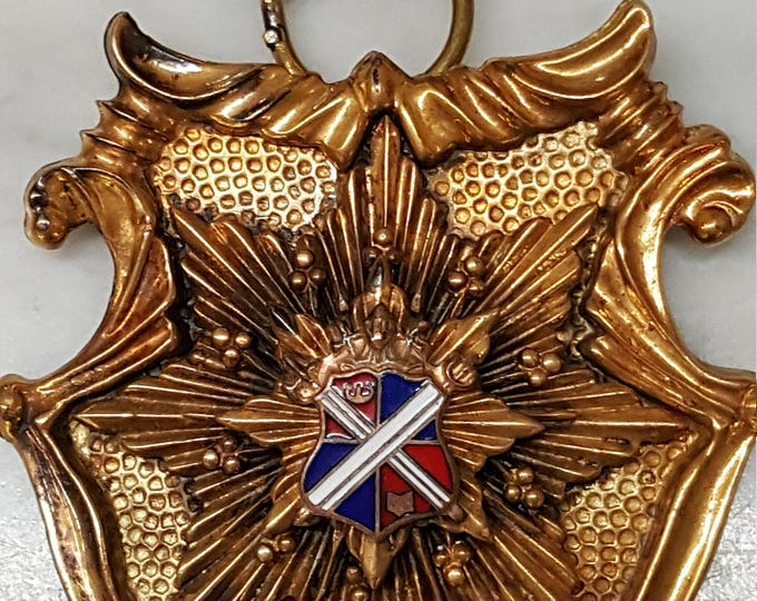 Heraldic Family Crest Book Chain Necklace Large Statement High Society Aristocracy Bronze Gold Enamel Vintage