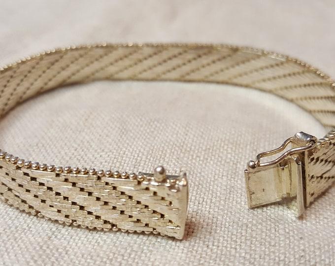 """Estate Find Solid Sterling Silver Italy Bracelet Facet Cut Mesh 7-1/8"""" long"""